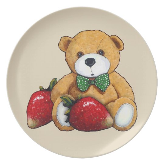 Teddy Bear With Strawberries, Original Colourful Plate