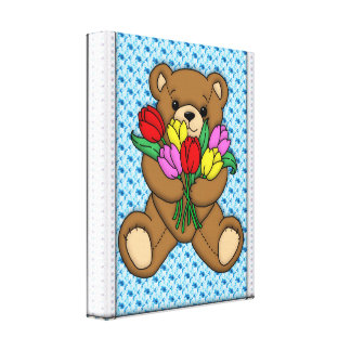 Teddy Bear with Tulips Gallery Wrapped Canvas