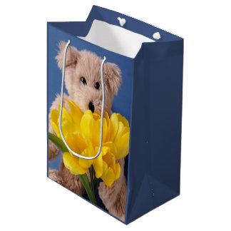 Teddy bear with yellow tulips medium gift bag