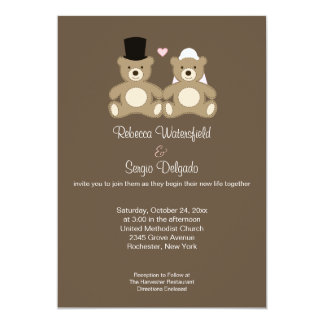 "Teddy Bears Customized Wedding Invitation (Brown) 5"" X 7"" Invitation Card"