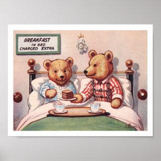 Teddy Bears Having Breakfastin Bed Poster