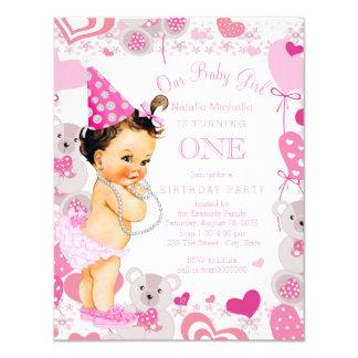 "Teddy Bears Hearts Girls 1st Birthday Party 4.25"" X 5.5"" Invitation Card"