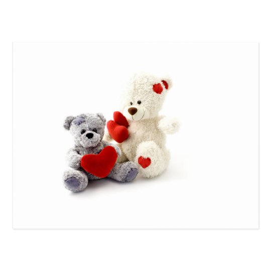TEDDY BEARS &  LOVE HEARTS POSTCARD