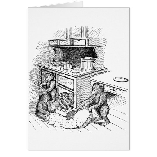 Teddy Bears Make a Mess in the Kitchen Greeting Card