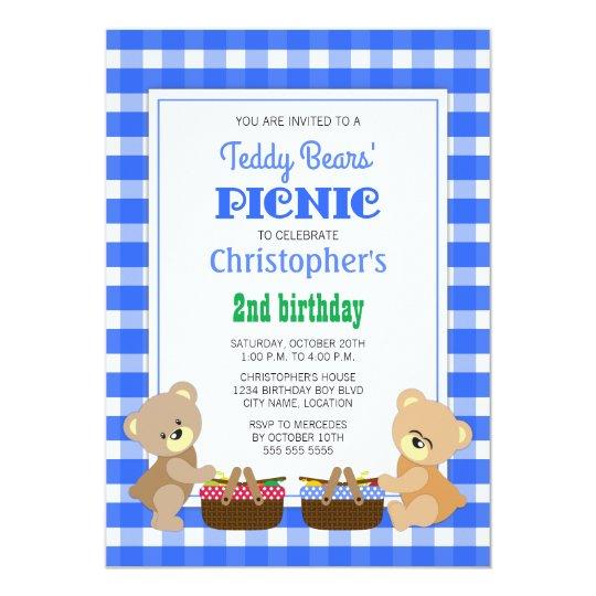 Teddy Bears' Picnic Boy's Birthday Party Card