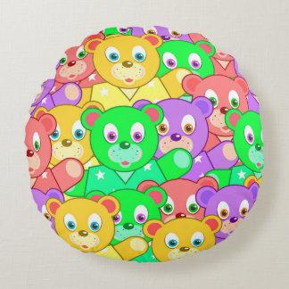 TEDDY BEARS PILLOW, Cute Kids Pattern Round Pillow