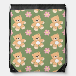 Teddy Bears & Pink Flowers on Sage Green Drawstring Backpacks