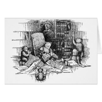Teddy Bears Reading in the Library Card