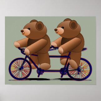 Teddy Bears Tandem Bicycle Print