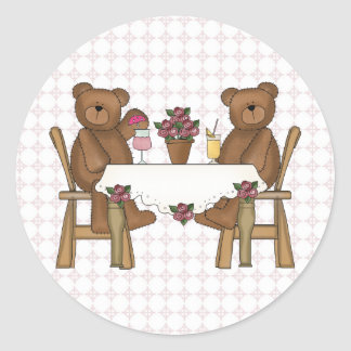 Teddy Bear's Time for Lemonade Round Sticker