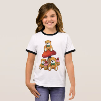 Teddy Bears, Toadstool, Cupcakes, Original Art Ringer T-Shirt