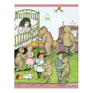 Teddy Bears Waltz with Dolls Postcard