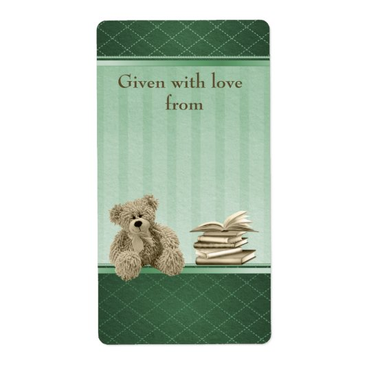 Teddy Bring a Book Neutral Baby Shower Bookplates Shipping Label