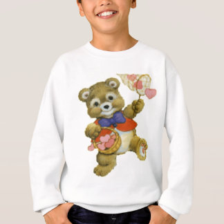Teddy Catching Valentine Hearts Sweatshirt
