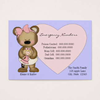 Teddy Emergency Numbers Babysitters Card