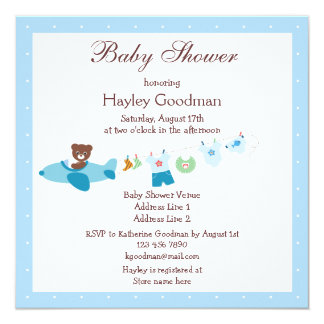 Teddy in Plane & Clothesline Blue Baby Shower Card