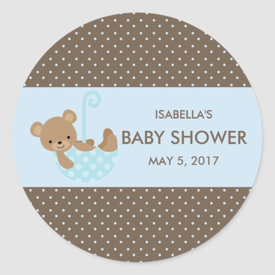 Teddy In Umbrella (Blue) Favour Bag Stickers