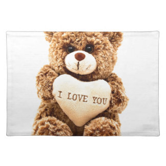 Teddy Love Valentine's Day Greeting Card Soft Toy Placemat