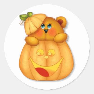 Teddy Pumpkin Classic Round Sticker