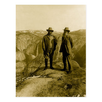 Teddy Roosevelt and John Muir at Glacier Point Postcard