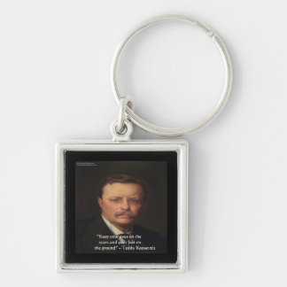 """Teddy Roosevelt """"Feet On Ground"""" Wisdom Quote Gift Silver-Colored Square Keychain"""