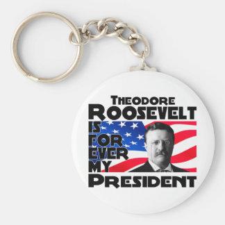 Teddy Roosevelt Forever Basic Round Button Keychain