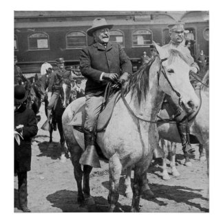 Teddy Roosevelt on Horseback in Yellowstone Poster