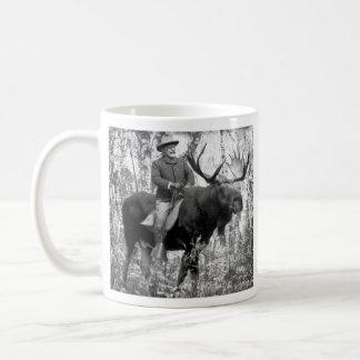 Teddy Roosevelt Riding A Bull Moose Classic White Coffee Mug