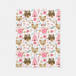 Teddy Teepee Fleece Blanket