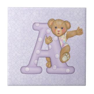 Teddy Tots Monogram A Ceramic Tiles