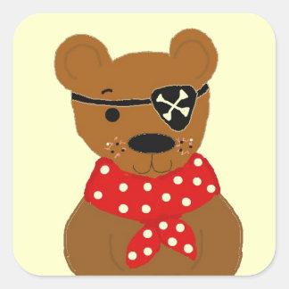 Teddybear Pirate Square Sticker