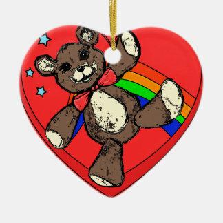 Teddybear rainbow ceramic heart ornament