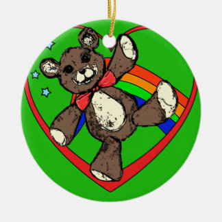 Teddybear rainbow round ceramic ornament