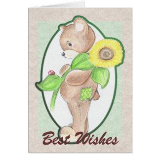 Teddybear, sunflower, and ladybug Card