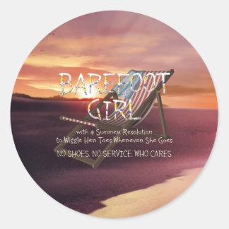 TEE Barefoot Girl Classic Round Sticker