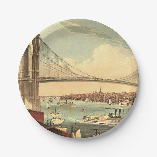 TEE Brooklyn Bridge 7 Inch Paper Plate