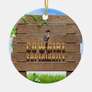 TEE Cowgirl Superiority Round Ceramic Ornament