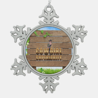 TEE Cowgirl Superiority Snowflake Pewter Christmas Ornament