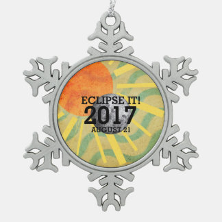 TEE Eclipse It 2017 Snowflake Pewter Christmas Ornament