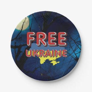 TEE Free Ukraine 7 Inch Paper Plate