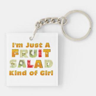 TEE Fruit Salad Girl Double-Sided Square Acrylic Keychain
