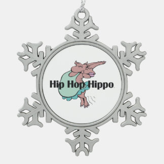 TEE Hip Hop Hippo Pewter Snowflake Ornament