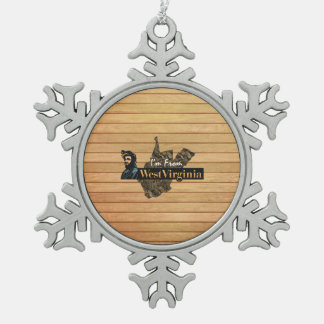 TEE I'm from West Virginia Snowflake Pewter Christmas Ornament