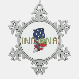 TEE Indiana Patriot Snowflake Pewter Christmas Ornament