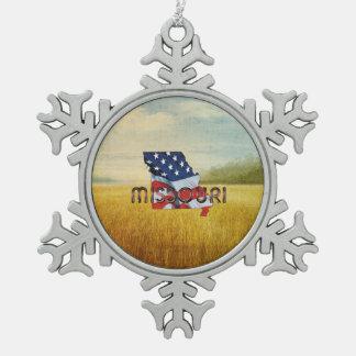 TEE Missouri Patriot Snowflake Pewter Christmas Ornament