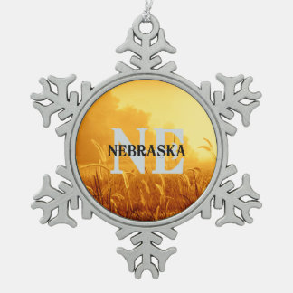 TEE Nebraska Pewter Snowflake Ornament
