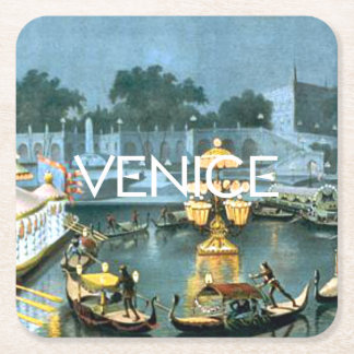 TEE On to Venice Square Paper Coaster