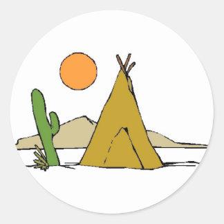 Tee Pee/Sunset Classic Round Sticker