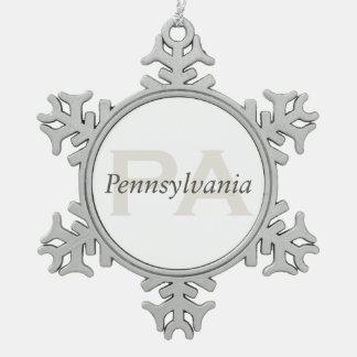 TEE Pennsylvania Snowflake Pewter Christmas Ornament