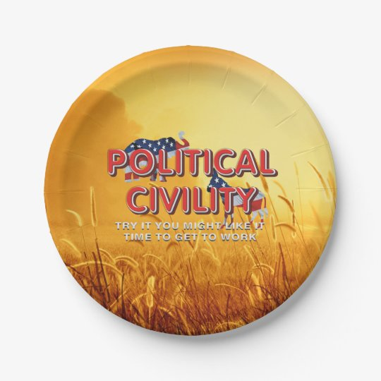 TEE Political Civility 7 Inch Paper Plate
